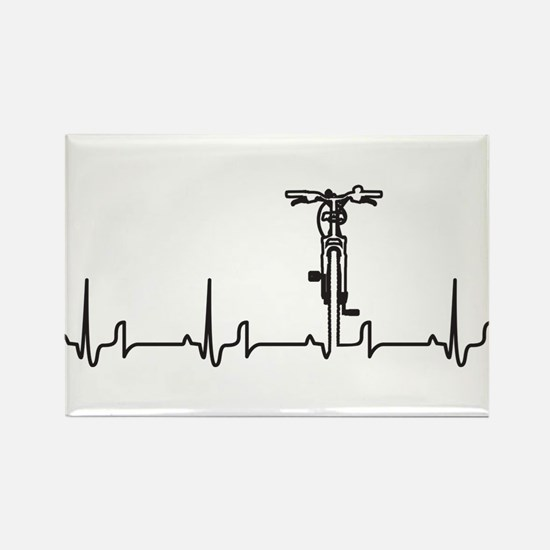 Bike Heartbeat Rectangle Magnet (100 pack)