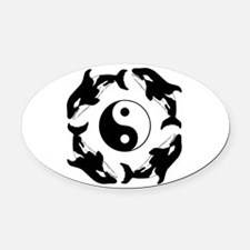 ORCA YIN YANG Oval Car Magnet