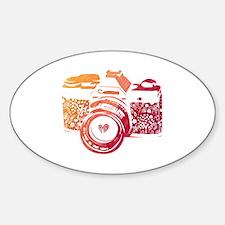 Cute Hearts camera Sticker (Oval)