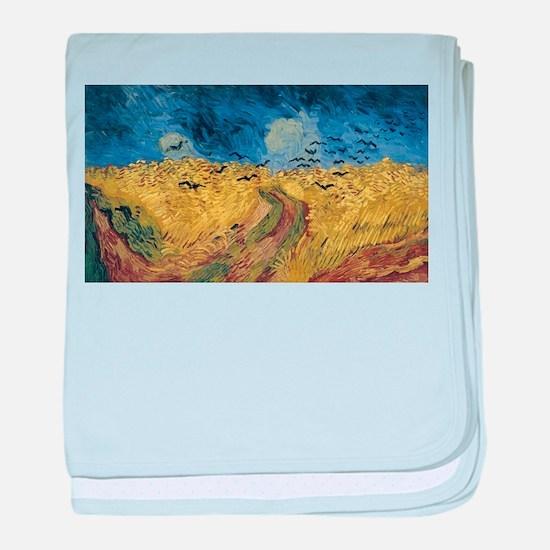 Vincent van Gogh - Wheatfield with Cr baby blanket