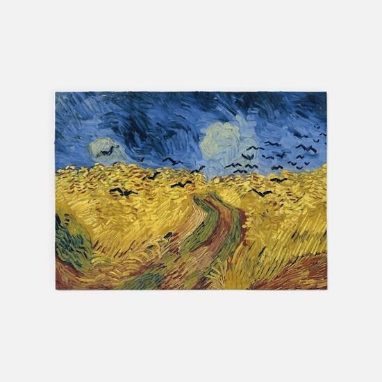 Vincent van Gogh - Wheatfield with 5'x7'Area Rug