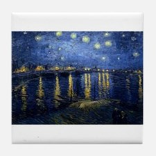 Vincent van Gogh's Starry Night Over Tile Coaster