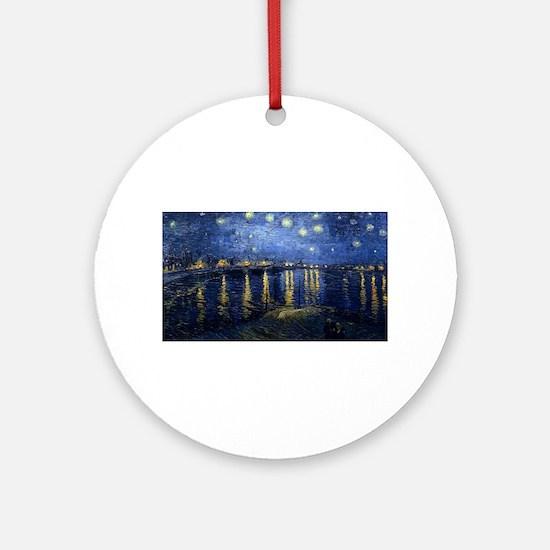 Vincent van Gogh's Starry Night Ove Round Ornament