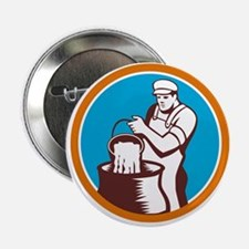 Cheesemaker Pouring Bucket Curd Circle Woodcut 2.2