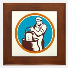 Cheesemaker Pouring Bucket Curd Circle Woodcut Fra