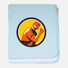Man Fist Pump Low Angle Retro baby blanket