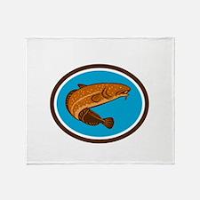 Burbot Fish Oval Retro Throw Blanket