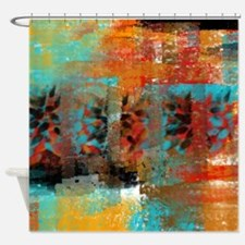 Red abstract art Shower Curtain