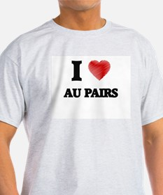 I love Au Pairs (Heart made from words) T-Shirt