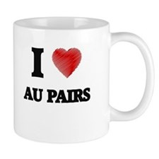 I love Au Pairs (Heart made from words) Mugs