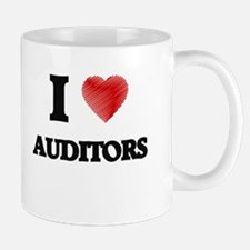 I love Auditors (Heart made from words) Mugs