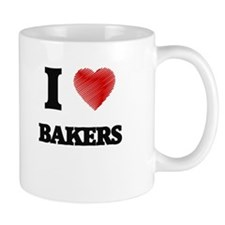I love Bakers (Heart made from words) Mugs