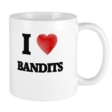 I love Bandits (Heart made from words) Mugs