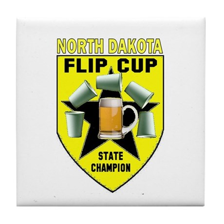 North Dakota Flip Cup State C Tile Coaster