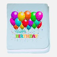 Trendy Happy Birthday Balloons baby blanket