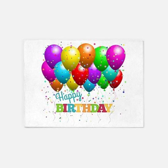 Trendy Happy Birthday Balloons 5'x7'Area Rug