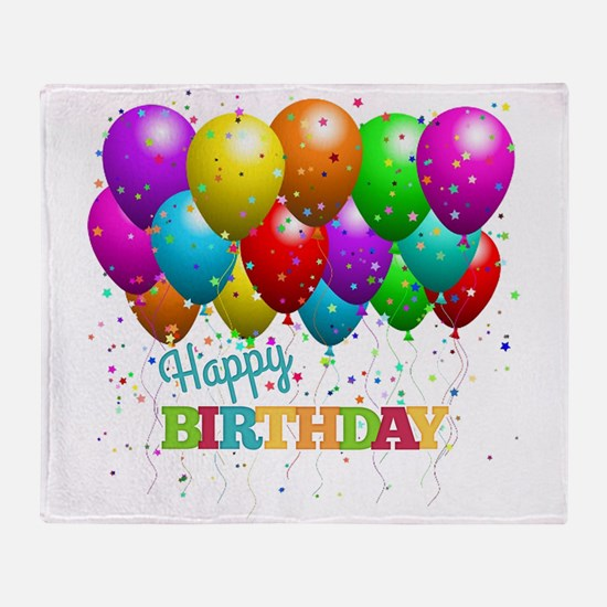 Trendy Happy Birthday Balloons Throw Blanket