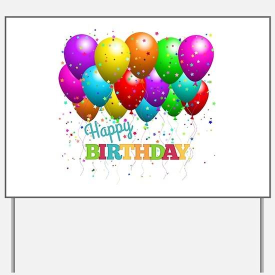Trendy Happy Birthday Balloons Yard Sign