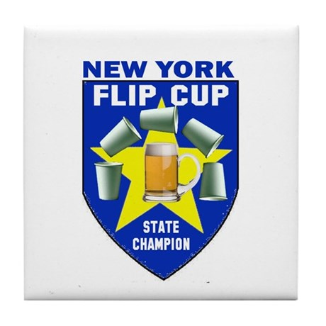 New York Flip Cup State Champ Tile Coaster