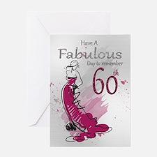60th Birthday Stylish Female Card Greeting Cards