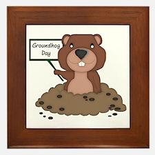 Cute Groundhogs Framed Tile