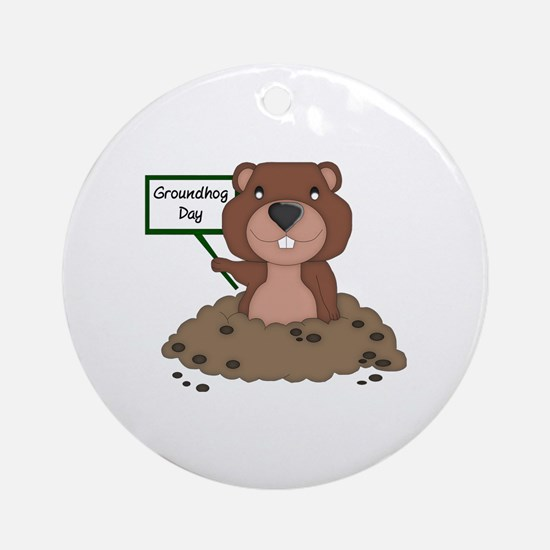 Cute Groundhogs day Round Ornament
