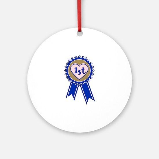 1st Blue Ribbon Round Ornament