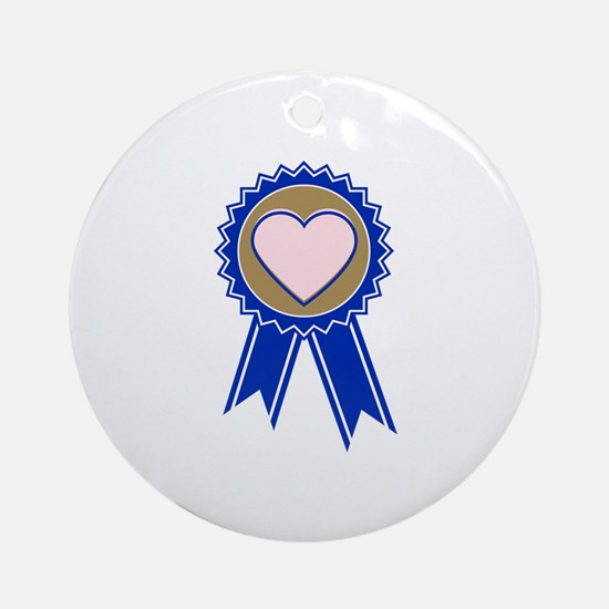 Love Blue Ribbon Round Ornament