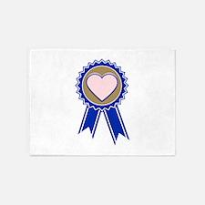Love Blue Ribbon 5'x7'Area Rug