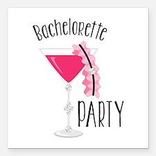 """Bachelorette Party Square Car Magnet 3"""" x 3"""""""