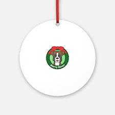 White boxer puppy Round Ornament