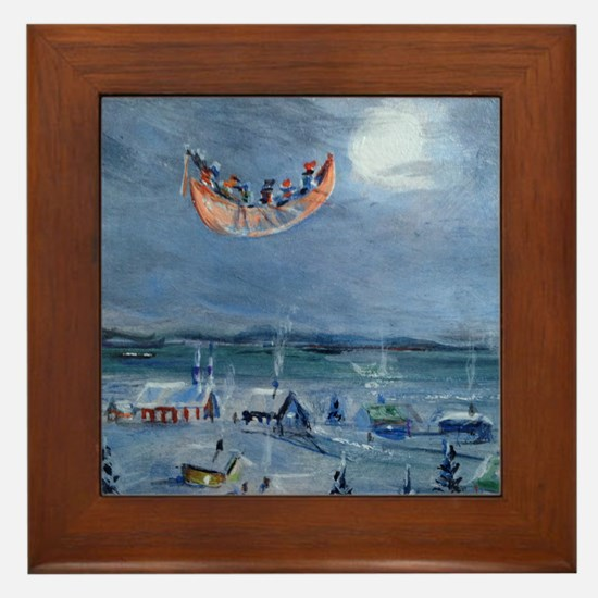 """The bewitched canoe """"Chasse-galerie"""" Framed Tile"""