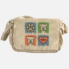 Cute Boxer dog art Messenger Bag