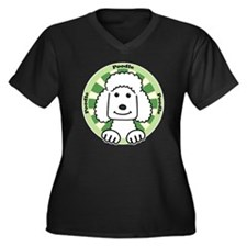Cute Standard poodle cartoon Women's Plus Size V-Neck Dark T-Shirt