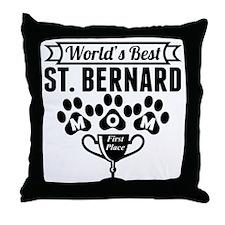 World's Best St. Bernard Mom Throw Pillow