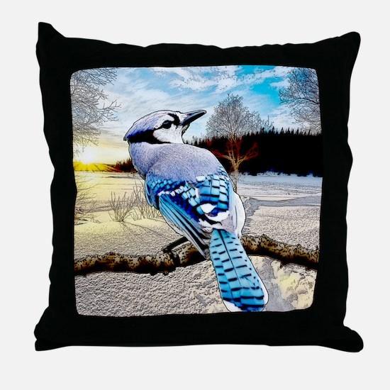 Blue Jay Sunrise Throw Pillow
