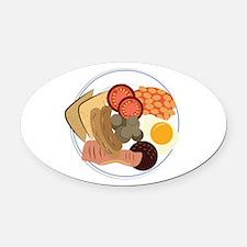 Full English Breakfast Oval Car Magnet