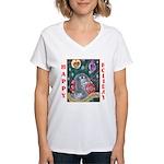 Rabbit Christmas Women's V-Neck T-Shirt