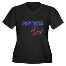 """""""Kentucky Girl"""" Women's Plus Size V-Neck Dark T-Sh"""