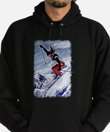 Skiing Down the Mountain in Red Hoodie (dark)
