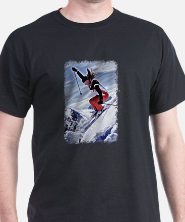 Skiing Down the Mountain in Red T-Shirt