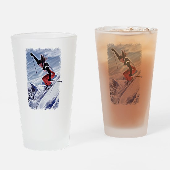 Skiing Down the Mountain in Red Drinking Glass
