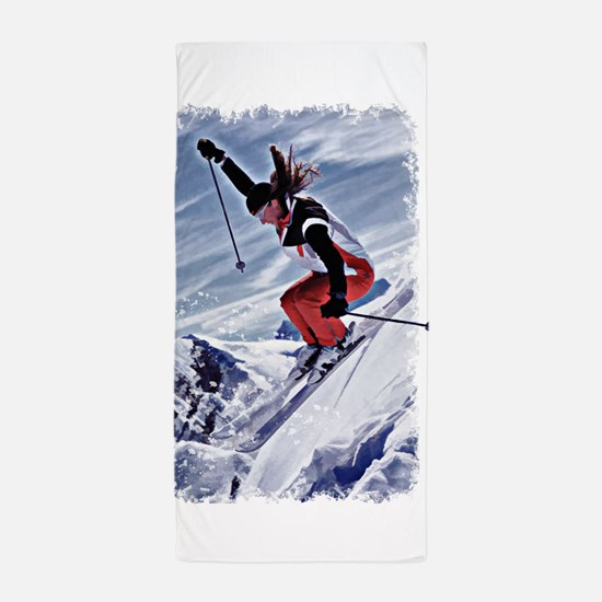 Skiing Down the Mountain in Red Beach Towel