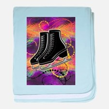 Black Ice Skates and Technicolor Swir baby blanket