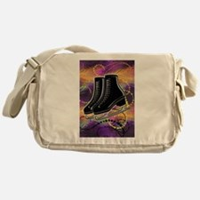Black Ice Skates and Technicolor Swi Messenger Bag