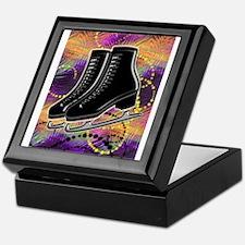 Black Ice Skates and Technicolor Swir Keepsake Box