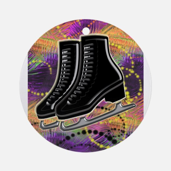 Black Ice Skates and Technicolor Sw Round Ornament