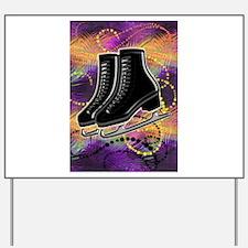 Black Ice Skates and Technicolor Swirls Yard Sign
