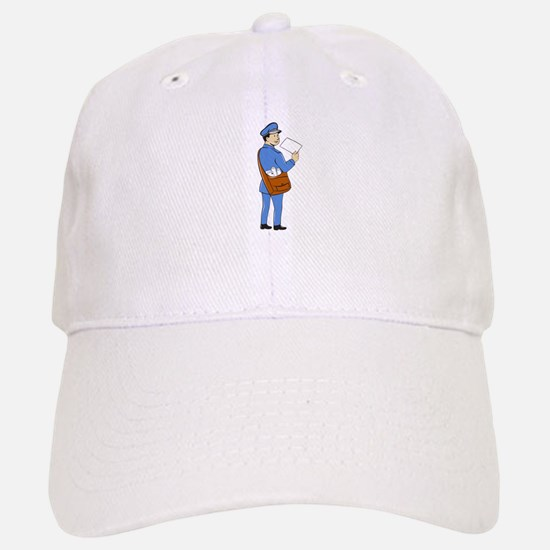 Mailman Deliver Letter Isolated Cartoon Baseball C