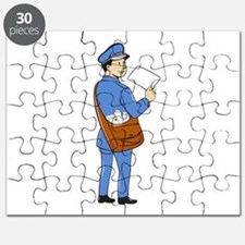 Mailman Deliver Letter Isolated Cartoon Puzzle